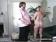Plump blonde got ass caned