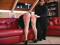Tattoed emo maid got spanking