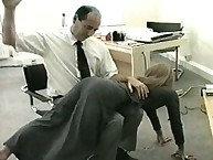 Boss spanking his blond secretary