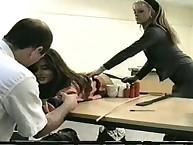 Boss enjoying spanking his secretaries