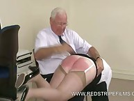Old Office Bitch Punished with Brutal Hand Spanking