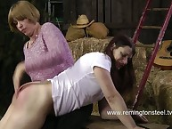 Lesbian MILFs playing over the knee spanking
