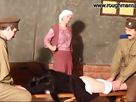 A brunette slut was spanked in tavern