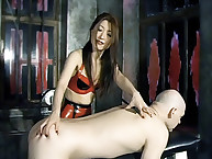 Latex queen spanked guy rough