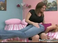 Prurient puss has brutish spanks on her keister