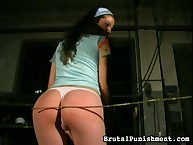 Teen with nifty ass was caned