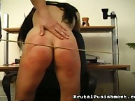 Office caninf and over the knee spanking for bad sexy babe
