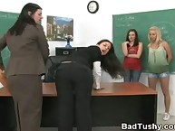 Bad dark brown Bent Over Desk and Brutally Paddled