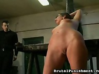 Hot brunette with cool tits was spanked