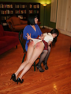 8 of Over the knee hand spanking on chair